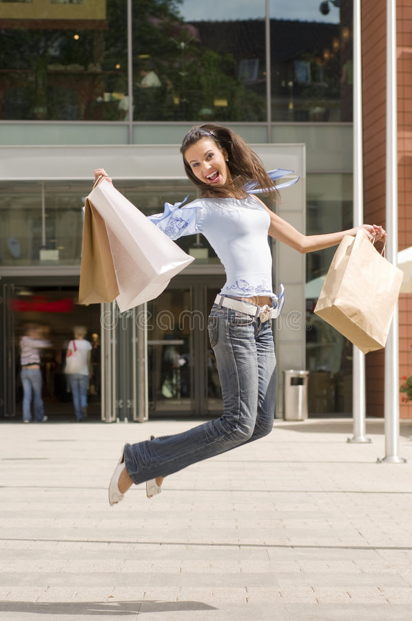 Jumping Fo Shopping Royalty Free Stock Image