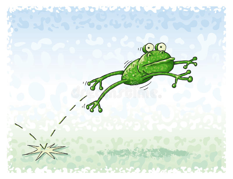 Jumping Frog. Green frog jumping in the green meadow