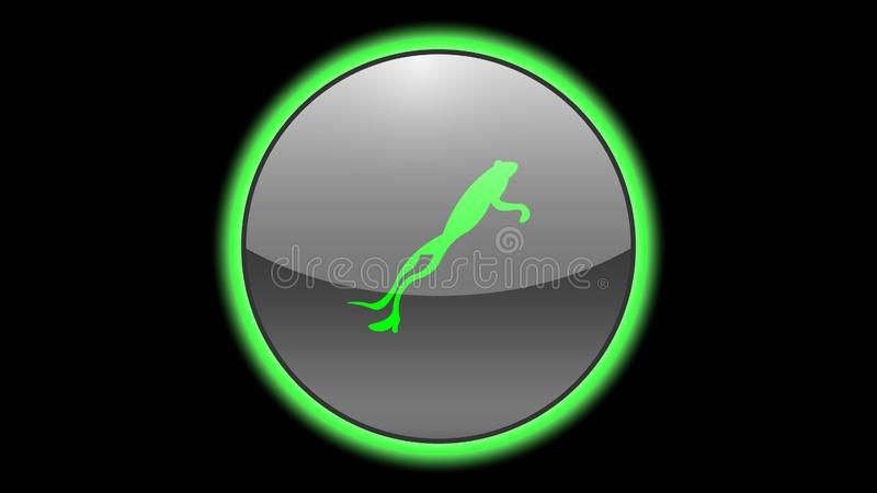 Jumping frog icon vector design. Green neon icons with animals. Animals icons vector stock illustration