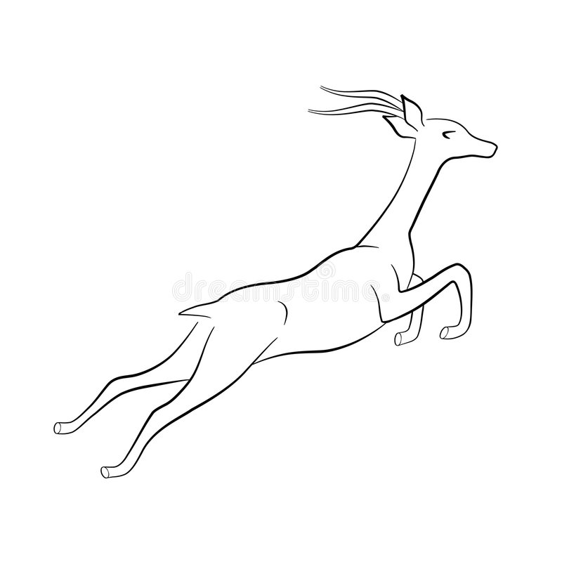 Jumping gazelle silhouette royalty free illustration