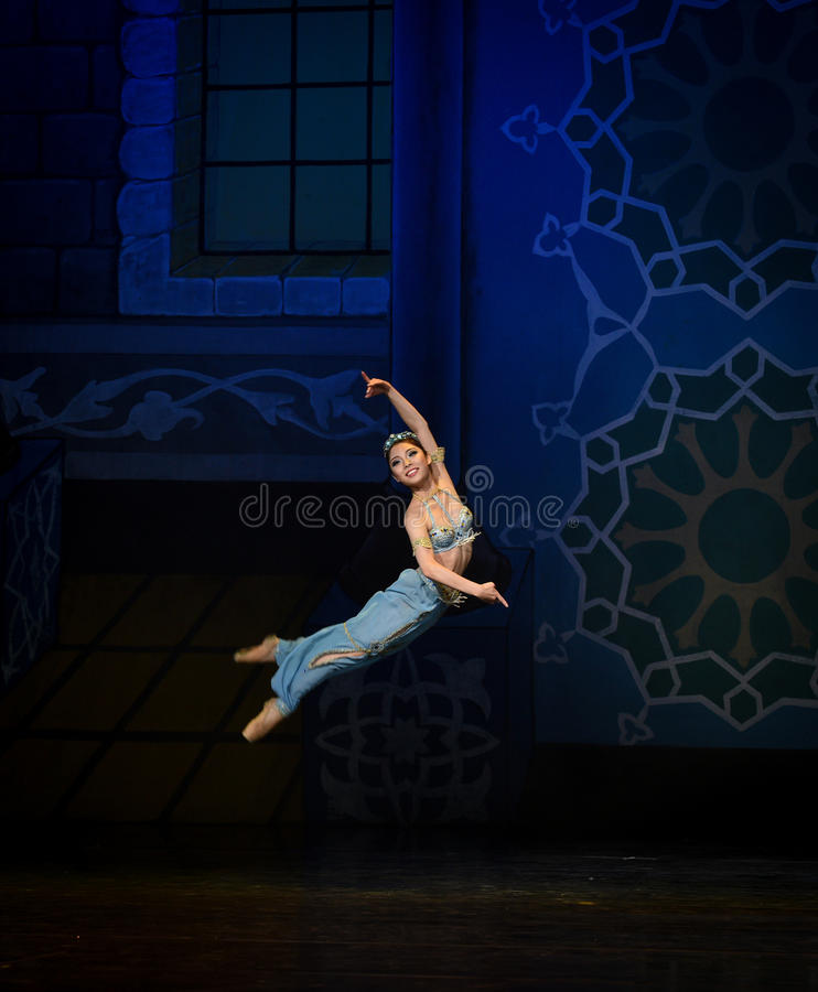 "Jumping the genie of the lamp- ballet ""One Thousand and One Nights"" royalty free stock photo"