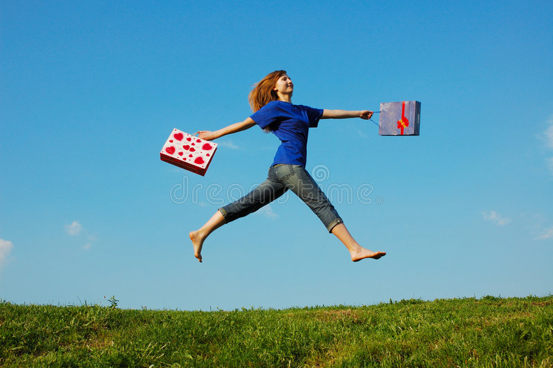 Download Jumping Girl stock image. Image of peace, jeans, healthy - 2655549