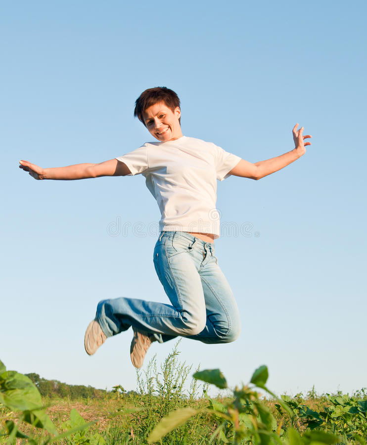 Download Jumping girl stock photo. Image of active, action, pretty - 26788622