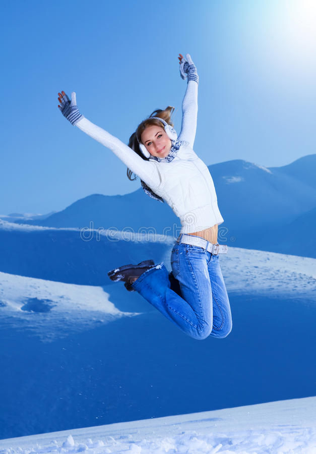 Download Jumping girl stock image. Image of mountain, person, jumping - 28084071