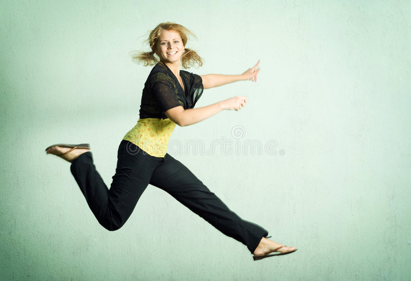 Jumping girl. royalty free stock images