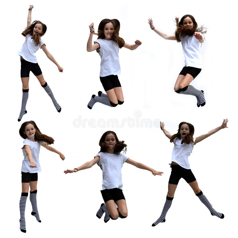 Jumping girl collage stock photos