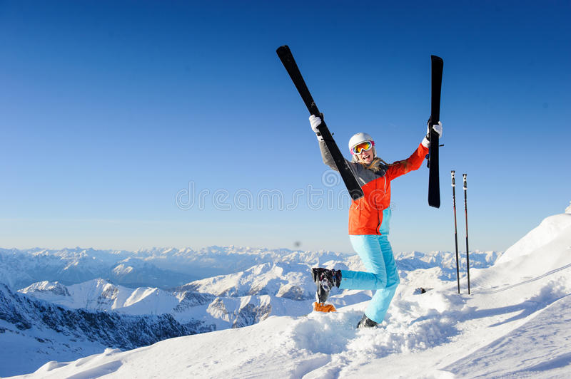 Download Jumping Girl In Fresh Snow Powder Stock Photo - Image: 36584378