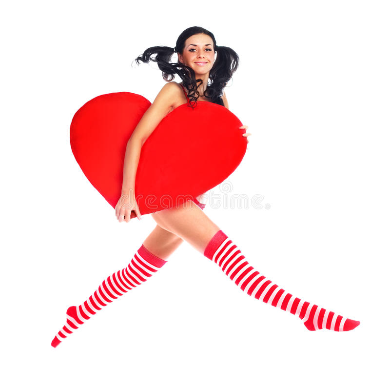Jumping Girl With A Heart Stock Image