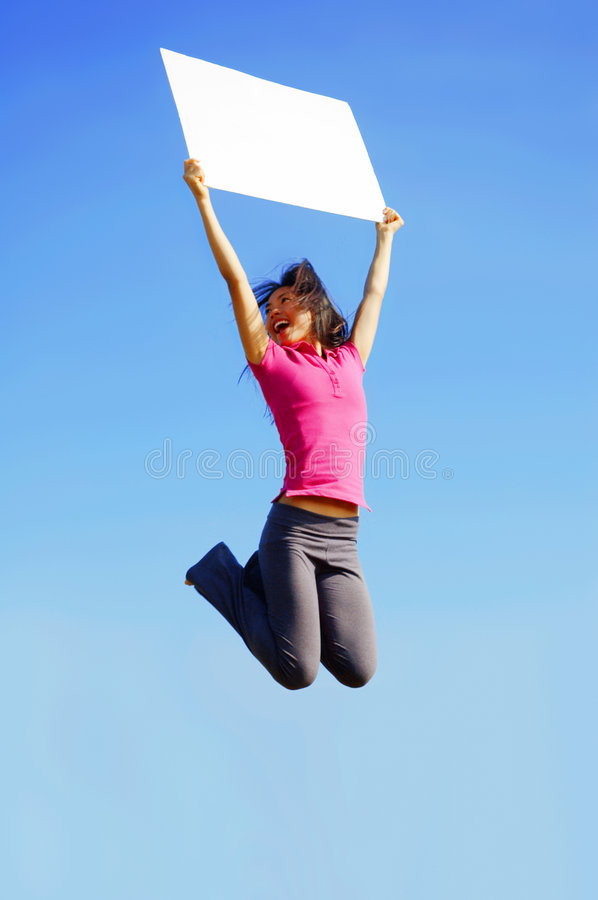 Download Jumping Girl With Sign stock image. Image of poster, positive - 6253735