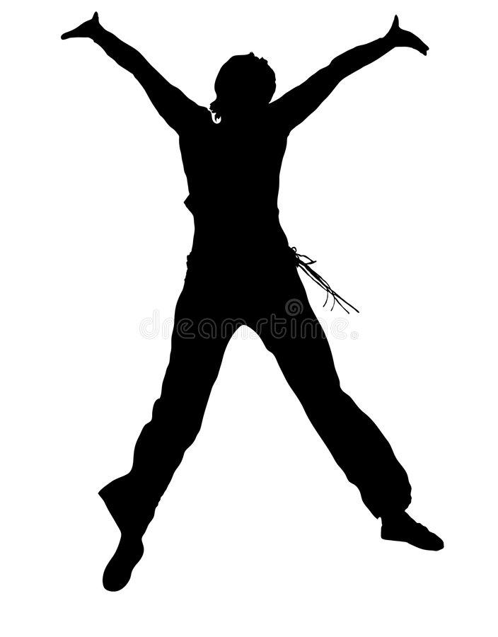 Jumping girl silhouette royalty free illustration