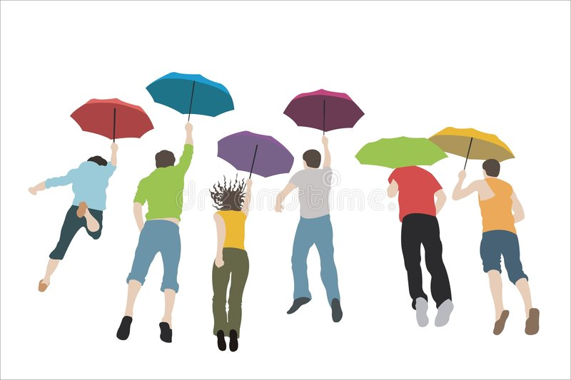 Jumping group with umbrellas vector illustration