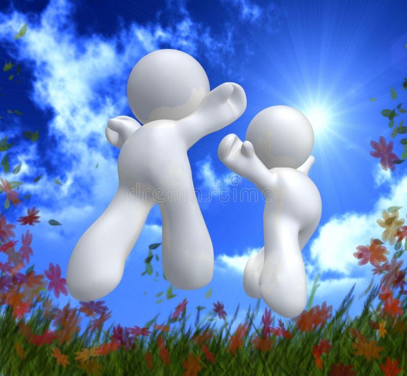 Jumping happy couple icon stock illustration