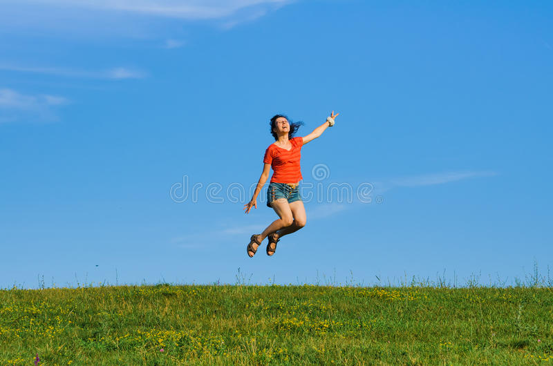 grass and sky backgrounds. Interesting And Download Jumping Happy Emotion Woman On Grass And Sky Backgrounds Stock  Image  Of Green