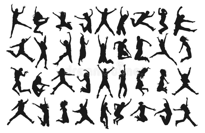 Jumping Happy People Silhouettes. Collection set a illustrator vector of Jumping Peoples Silhouette, isolated on white background royalty free illustration