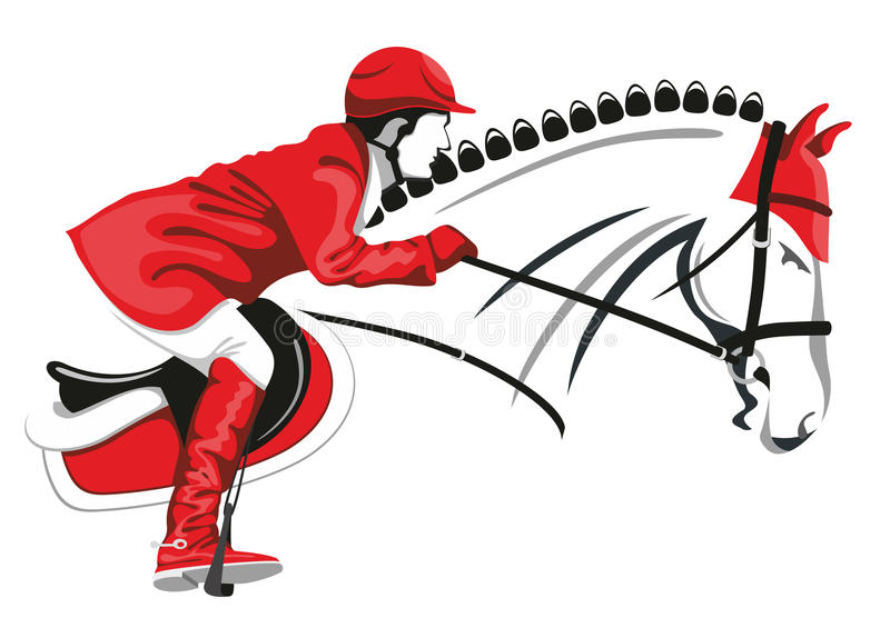 Jumping horse and jockey vector illustration