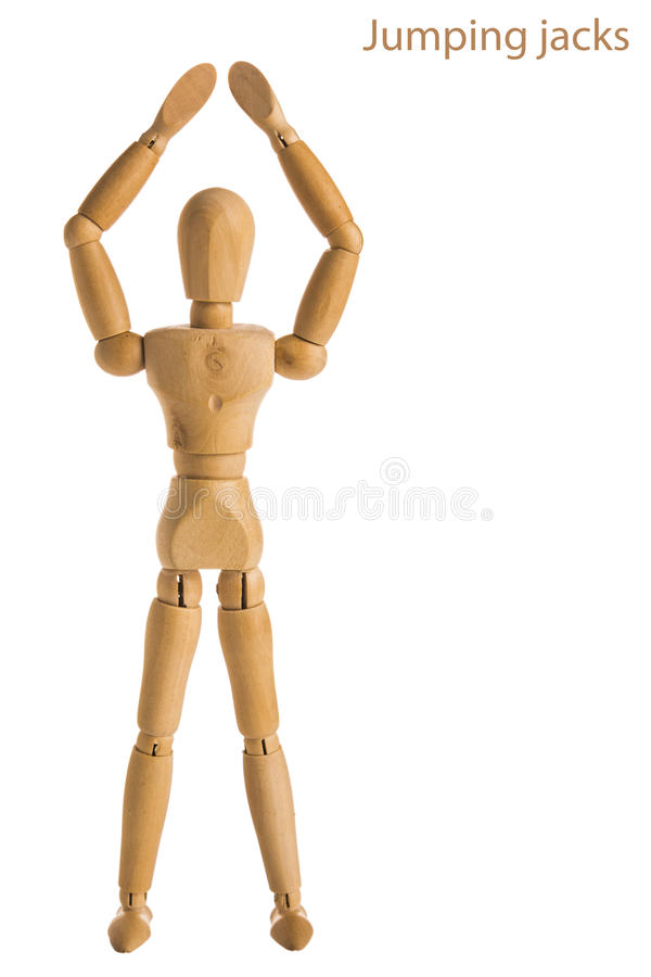 Jumping jacks pose stock photo