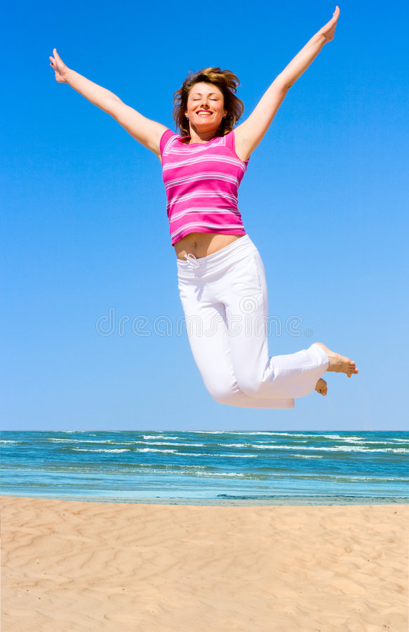 Download Jumping in joy stock photo. Image of people, free, beautiful - 5416056