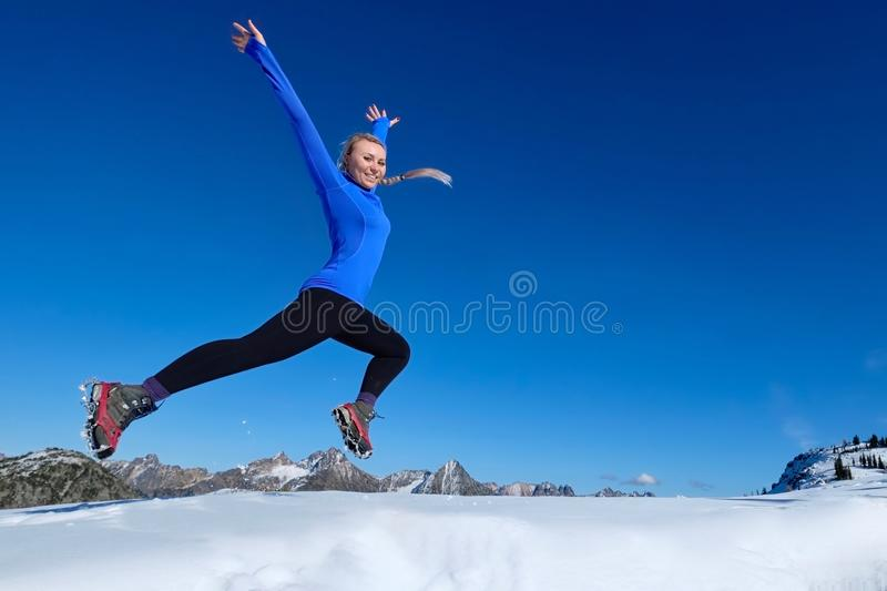 Jumping with joy. royalty free stock images