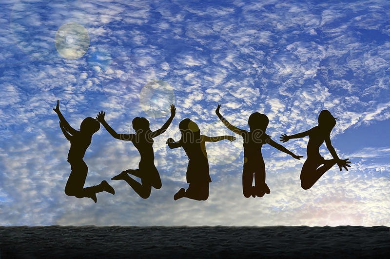 Download Girls Jumping With Joy On The Beach Silhouetted Against A Cloudy Sky Stock Photo - Image of entertainment, dawn: 61054924