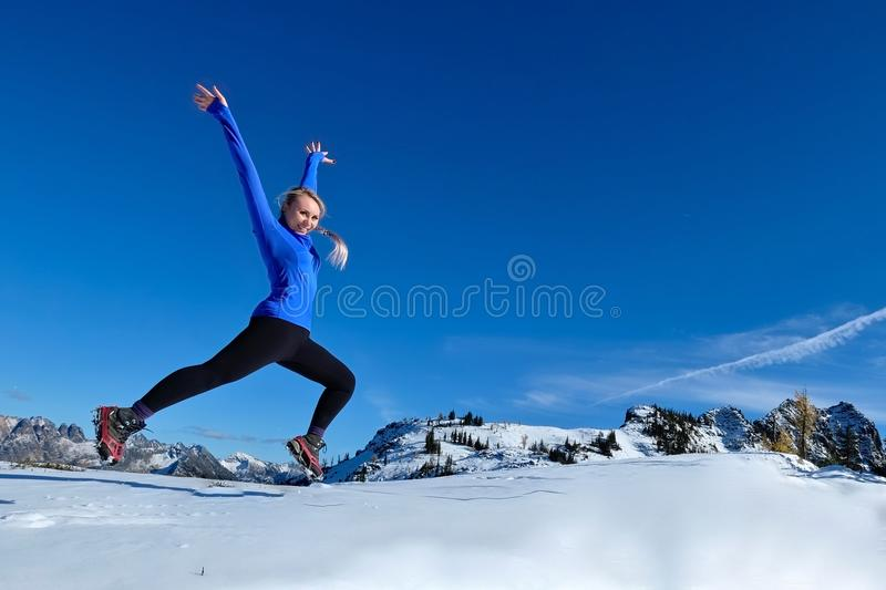 Jumping with joy. stock images