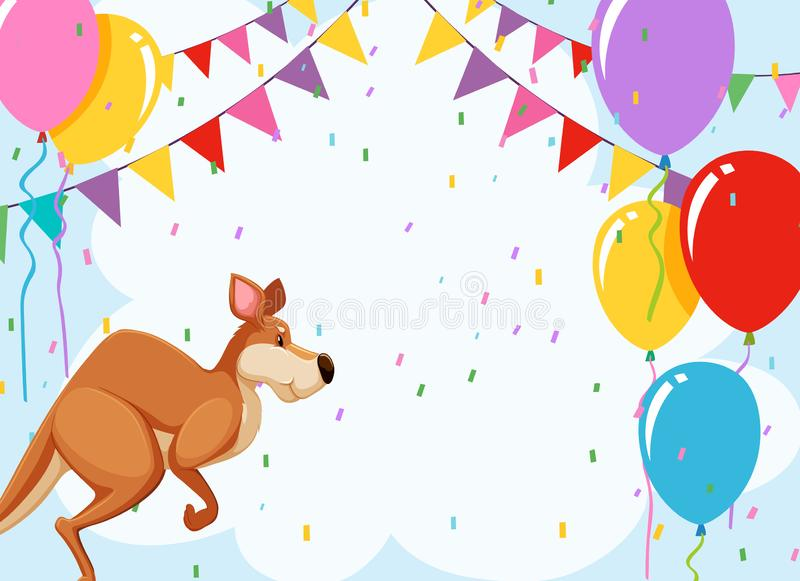 Jumping kangaroo party card stock illustration
