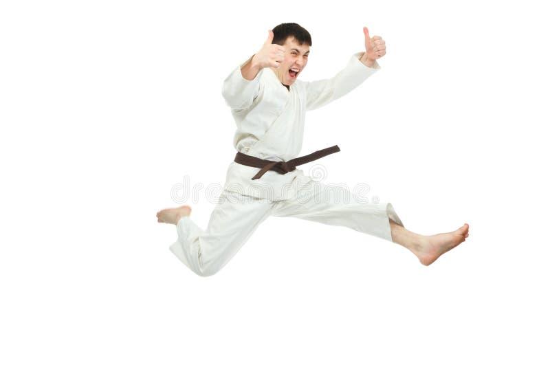 Jumping karateka stock photo