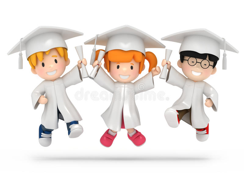 Download Jumping kids with dilpoma stock illustration. Illustration of finish - 23378609