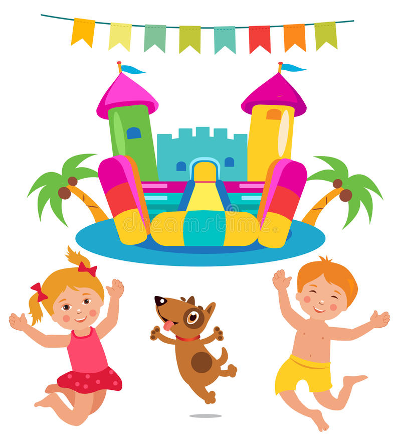 Jumping Kids And Dog And Bouncy Castle Set. Cartoon Illustrations On A White Background. Bouncy Castle Rental. Bouncy Castle For Sale. Bouncy Castle Commercial vector illustration