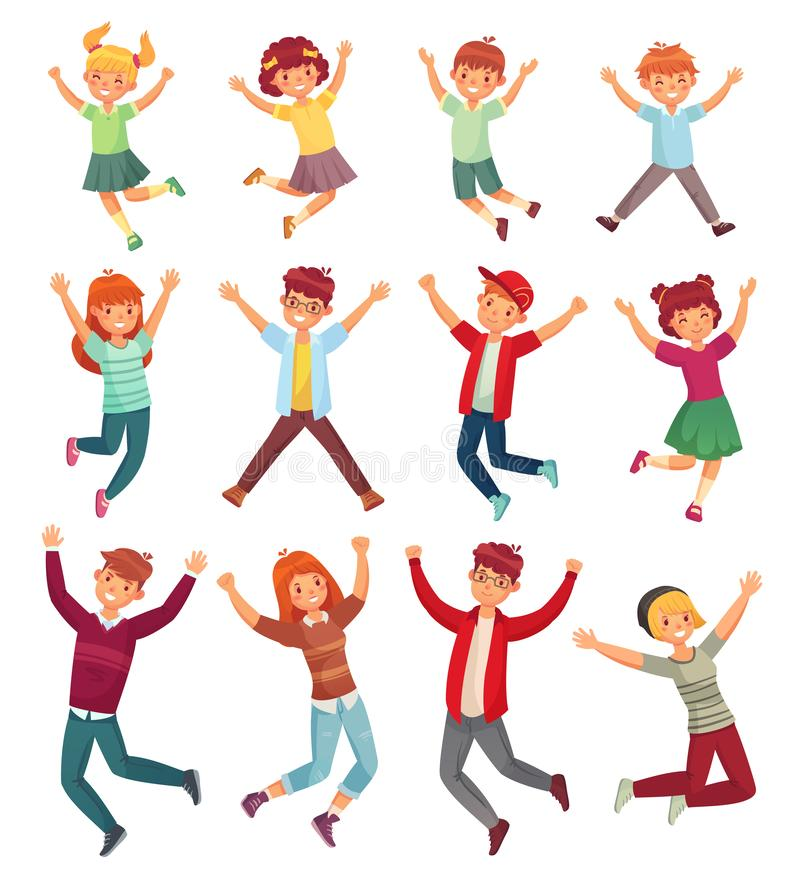 Jumping kids. Excited childrens jump, happy jumped teenagers and smiling child jumps cartoon vector illustration set royalty free illustration