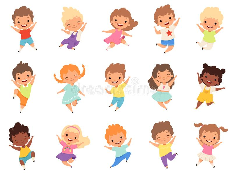 Jumping kids. Happy funny children playing and jumping in different action poses education little team vector characters royalty free illustration
