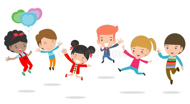 Jumping kids, Multi-ethnic children jumping, child jumping with joy , happy jumping kids, happy cartoon child playing royalty free illustration