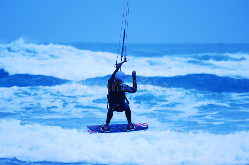 Download Kite surfing stock image. Image of silhouette, kite, blue - 30117065