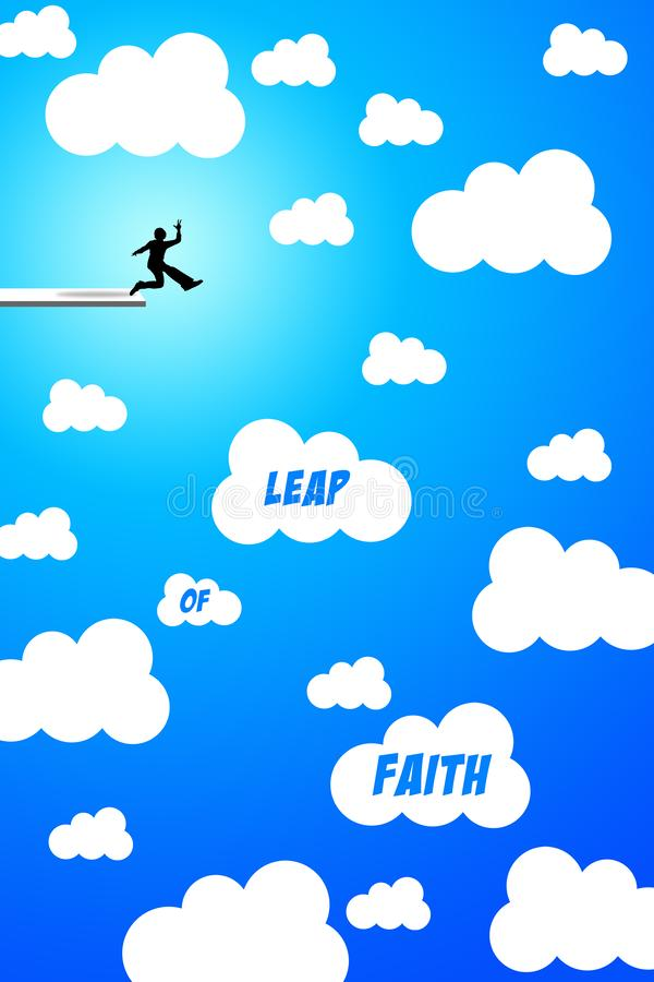 Leap of faith. Jumping and making a leap of faith royalty free illustration