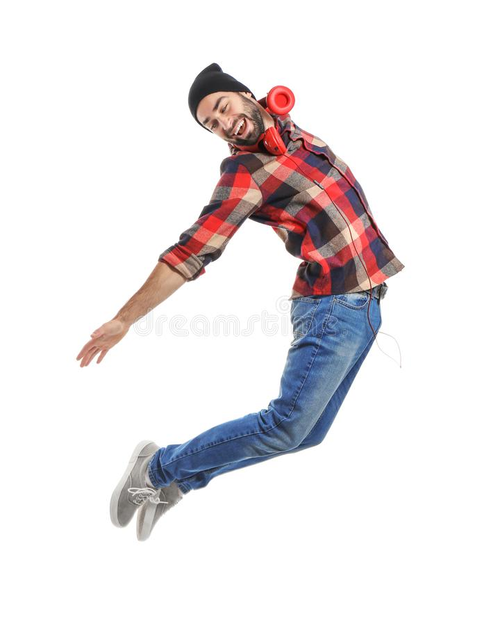 Jumping male dancer on white background stock photo