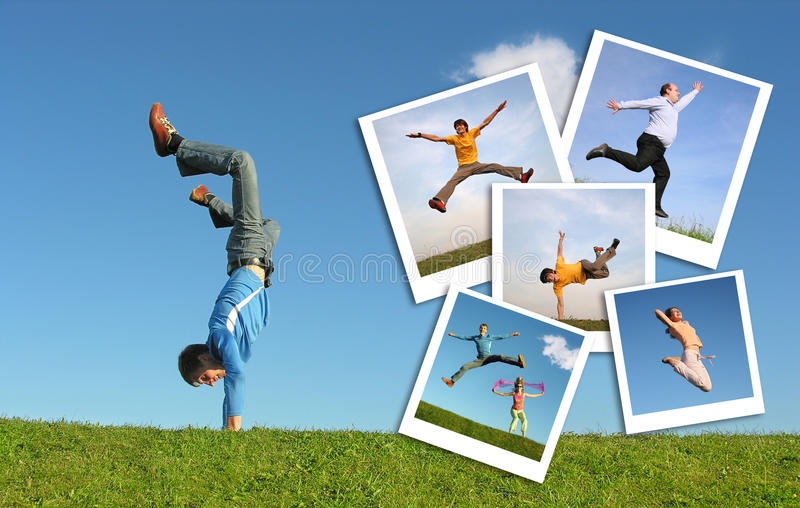 Jumping man in grass and photographs of people royalty free stock images