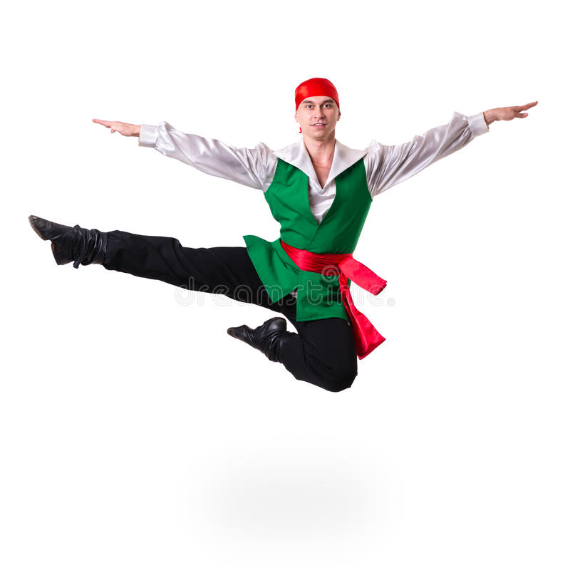 Jumping man wearing a pirate costume. Isolated on. White background in full length royalty free stock photos
