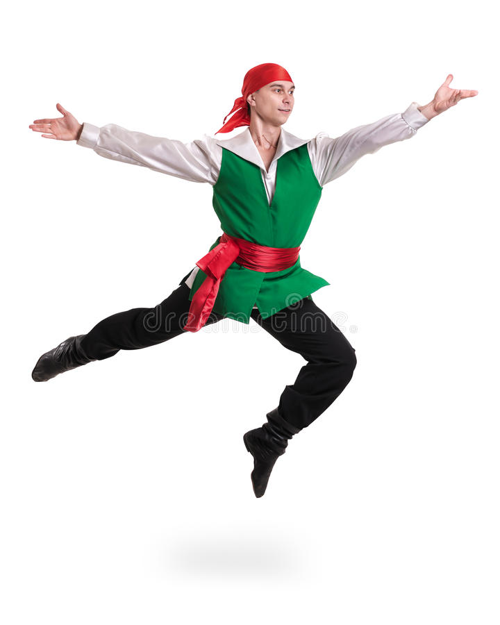 Jumping man wearing a pirate costume. Isolated on white in full length. Jumping man wearing a pirate costume. Isolated on white background in full length royalty free stock photos
