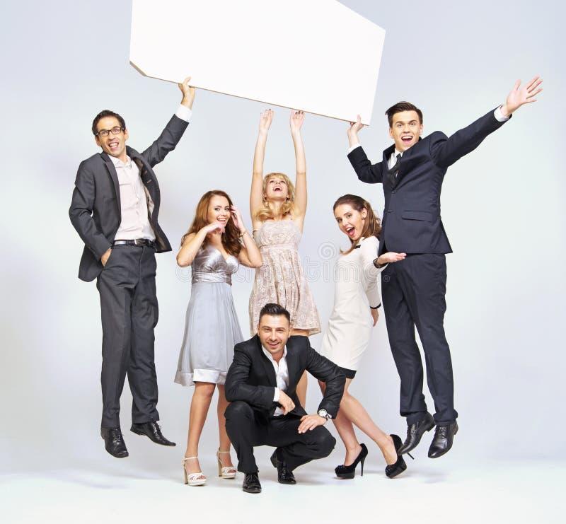 Jumping Men And Elegant Women Stock Photography