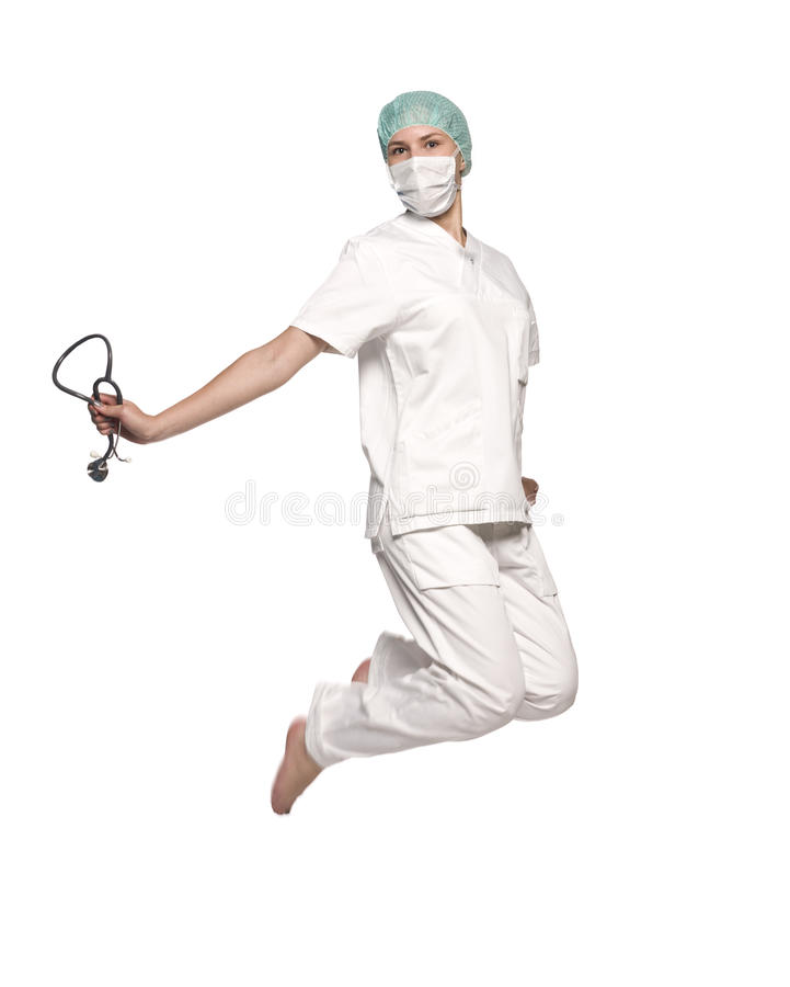 Download Jumping nurse stock photo. Image of comfortable, female - 9731520