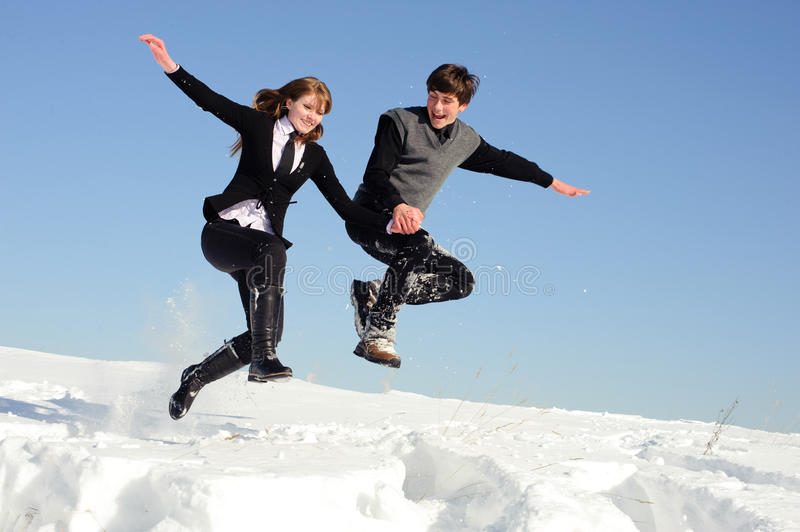Jumping Pair Royalty Free Stock Images