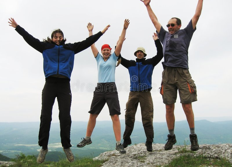 Download Jumping people stock image. Image of jump, happines, mountain - 1904603