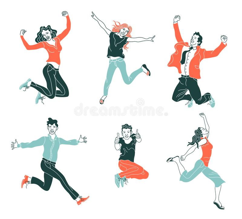 Jumping people isolated on white background.various poses jumping people character. hand drawn style vector design illustrations.h vector illustration
