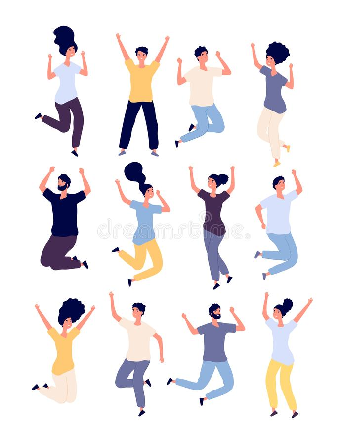 Jumping people set. happy smiling adults enjoy in jump celebrating event. healthy lifestyle Isolated vector cartoon royalty free illustration