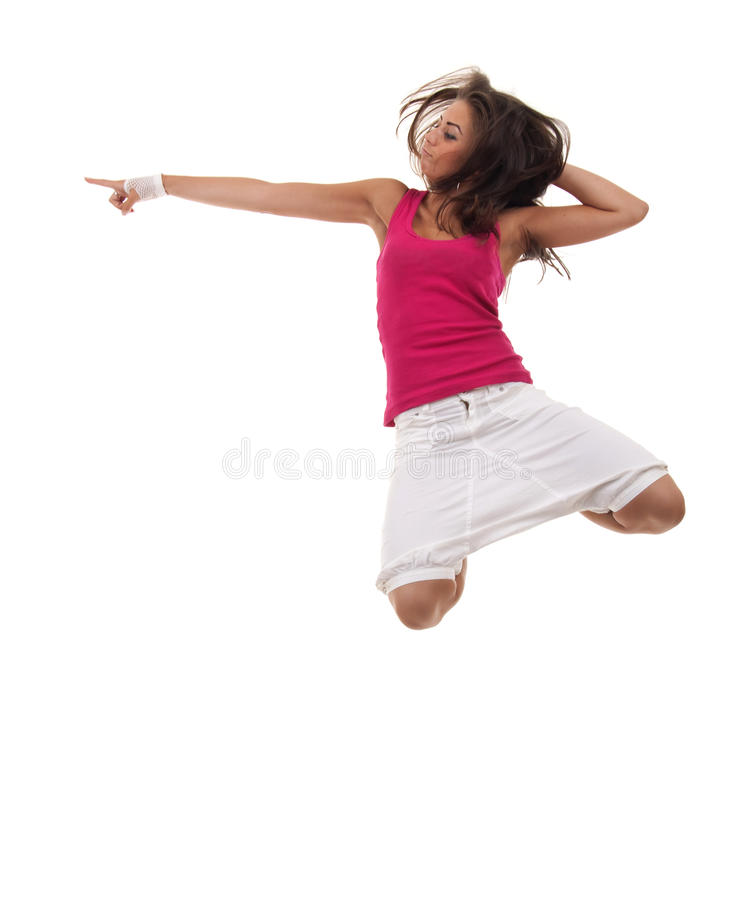 Jumping and pointing royalty free stock photos