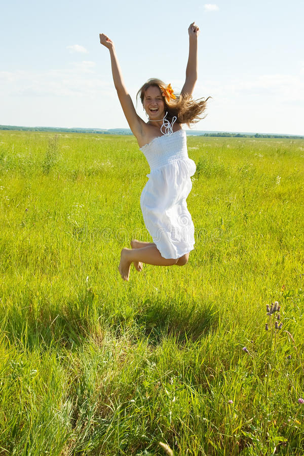 Download Jumping  Pretty Brunette  Girl Stock Photo - Image: 15308586