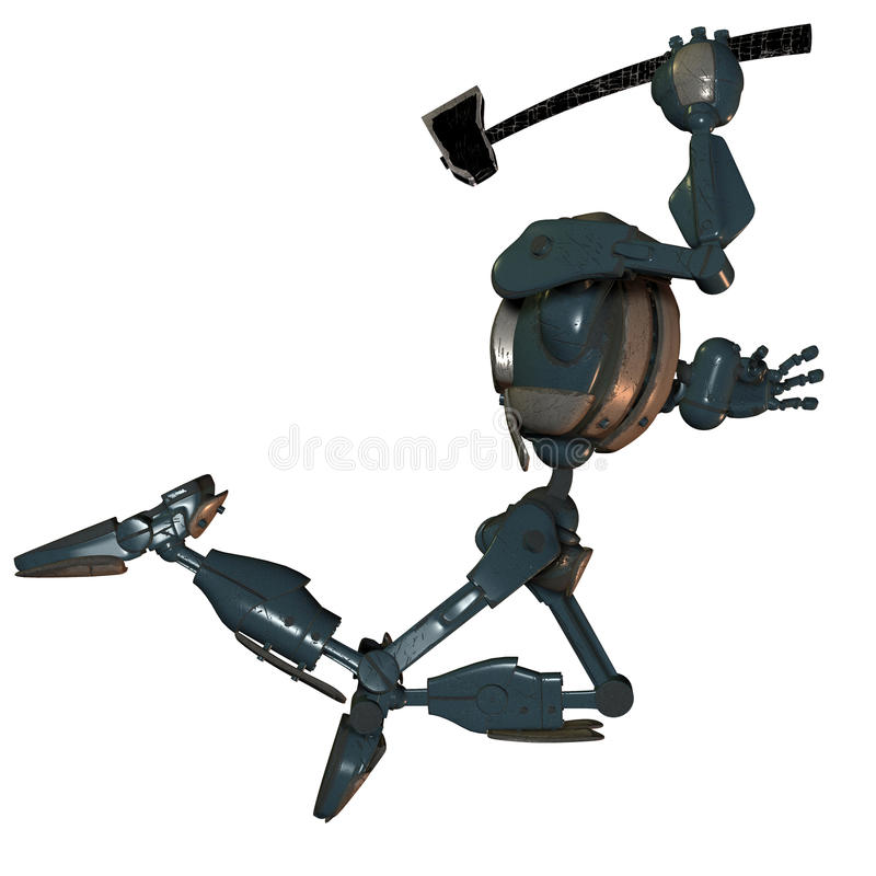 Jumping robot with ax royalty free illustration