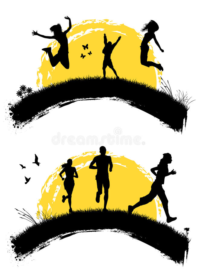 Jumping And Running People Royalty Free Stock Images