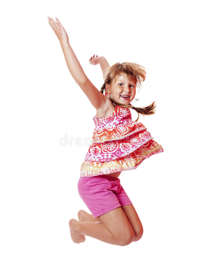 Jumping school girl royalty free stock photos