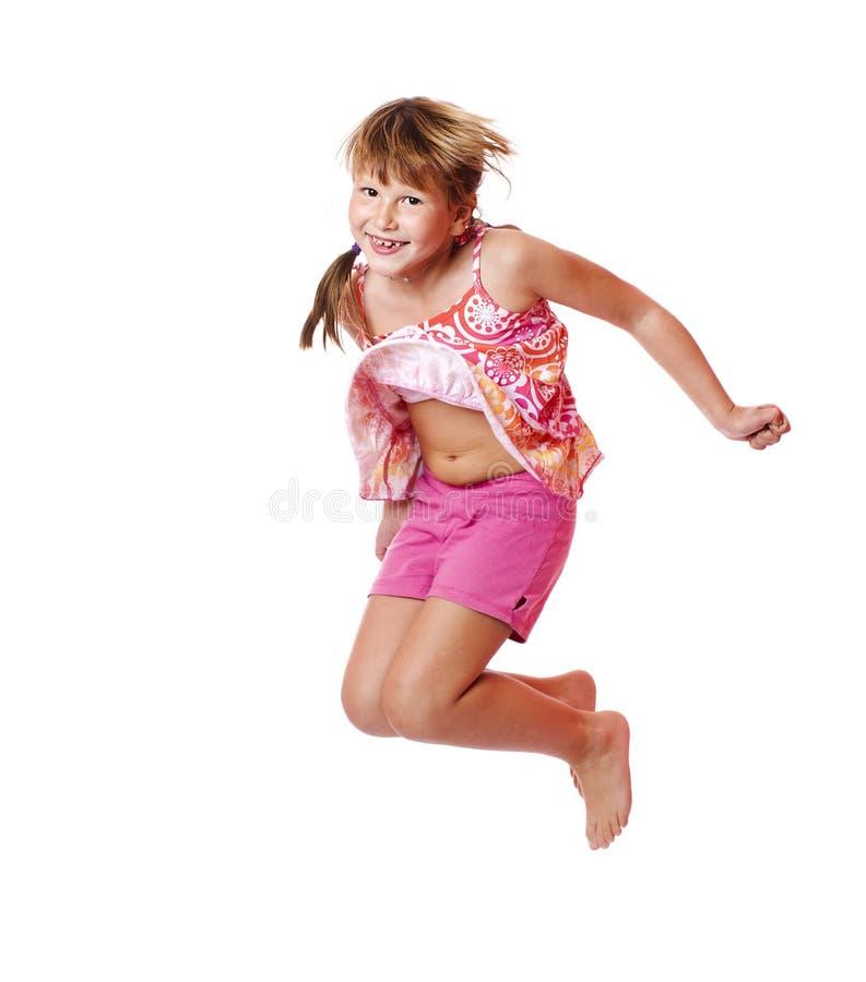 Jumping school girl stock photography