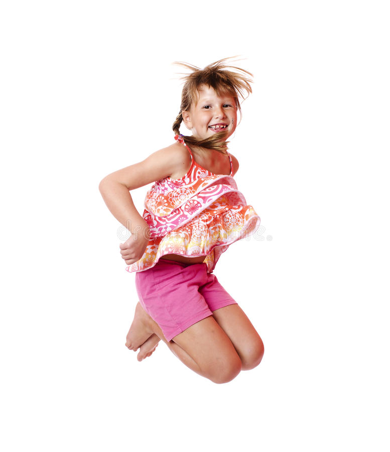 Jumping school girl royalty free stock images